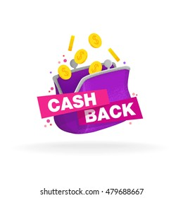 Isolated sticker, labels, emblem Cash Back and purse