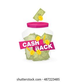 Isolated sticker, labels, emblem Cash Back