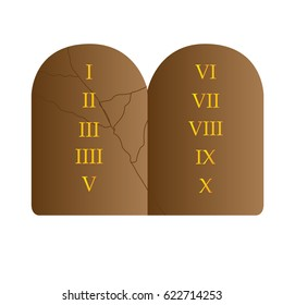 Isolated stone with the 10 commandments, Vector illustration