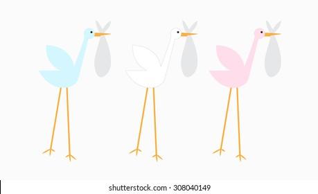 Isolated Stork Bird Baby Vector Icon Illustration Cartoon