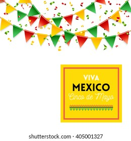 Isolated strings of colorful flags and banner for Cinco de Mayo celebration over white background