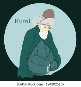 Isolated. Suitable for any print and on line media need - Turkey Konya Mevlana Mevlana Celaleddin Rumi is a symbol of tolerance and peace.