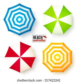 Isolated summer beach umbrellas vector set