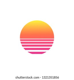 Isolated sunset gradient on white background. Vector illustration of sun in retro 80s and 90s style.