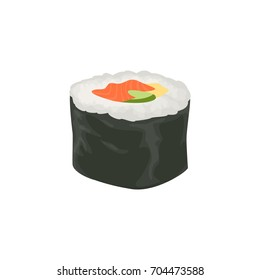 Isolated sushi roll with fish and vegetables on white background.