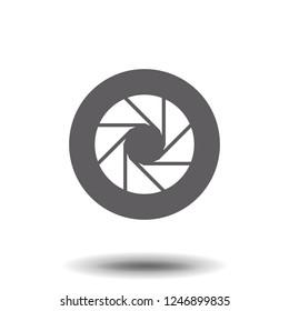isolated symbol of camera lens shutter diaphragm aperture.