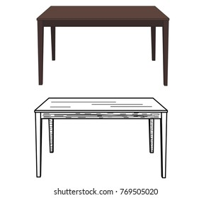 isolated table, sketch of a table
