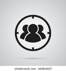 Isolated Target Icon Symbol On Clean Background. Vector Group  Element In Trendy Style.