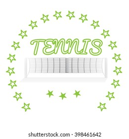 Isolated tennis net, some stars and text on a white background