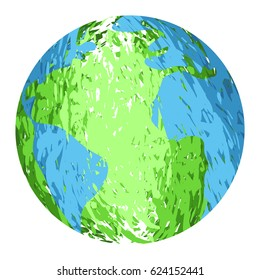 Isolated textured earth planet on a white background, Vector illustration