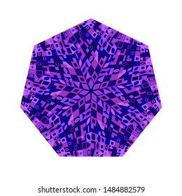 Isolated tiled mosaic heptagon symbol - colorful ornamental vector element from geometrical shapes