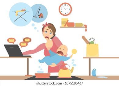 Isolated tired multitasking mother with baby, business and house.