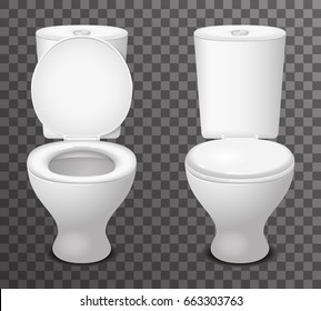 Isolated toilet ceramic seat open closed 3d icon realistic design vector illustration