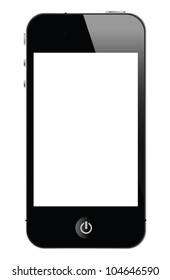 isolated touch screen smartphone, vector with white screen.