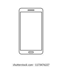 Isolated touchscreen 9:16 smartphone on outline. Smartphone symbol vector Illustration. EPS10 compatible