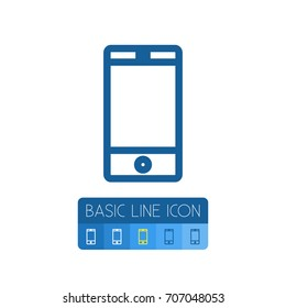 Isolated Touchscreen Outline. Smartphone Vector Element Can Be Used For Cellphone, Touchscreen, Smartphone Design Concept.
