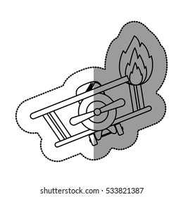 Isolated toy airplane on fire design