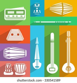 Isolated traditional indian instruments. Vector flat set