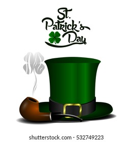 Isolated traditional smoking pipe and a hat, Patrick's day vector illustration