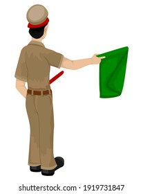 isolated train staff man with flag on white background vector design