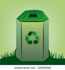 an isolated trash can on a green background