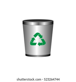 Isolated trash can with a recyclable icon, Vector illustration