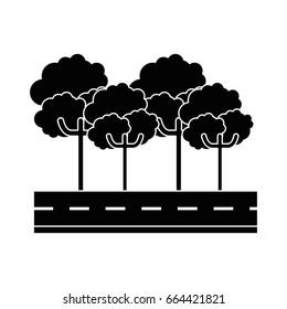 isolated tree on Highway cartoon