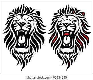 Isolated tribal lion tattoo - vector illustration