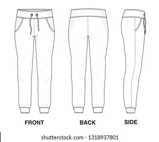 Isolated Trouser Pants Shorts object of clothes and fashion stylish wear fill in blank shirt. Regular Leg Casual Sweat Pants Sweats Sports Illustration Vector Template. Front, back and side view