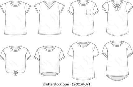Isolated t-shirt object of clothes and fashion stylish wear fill in blank. Set of clothing t shirts and vector illustration. Regular, V-Neck, Pocket, Bow, Crop top, Long, Baggy Tee