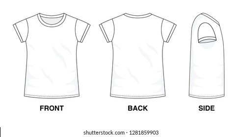 Isolated t-shirt object of clothes and fashion stylish wear fill in blank. Set of clothing t shirts and vector illustration. Different views, front, back and side view graphic design template