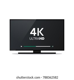 Isolated TV screen with 4k Ultra HD video technology on a white background.