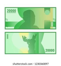 Isolated twenty thousand rupiah vector design. Indonesia rupiah paper money design