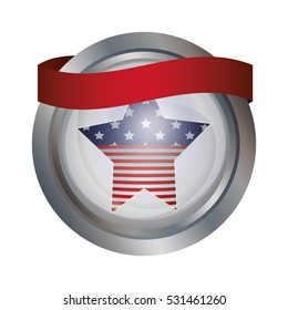 Isolated Usa flag inside button design