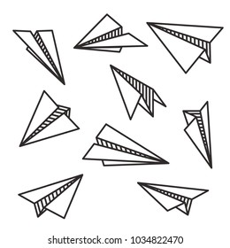 Isolated various paper planes black outline flying concept