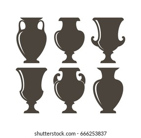 Isolated vases on white background. Ancient Greek vases. Vector illustration