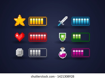 Isolated Vecor Pixel Art Video Game Interface Icon Set