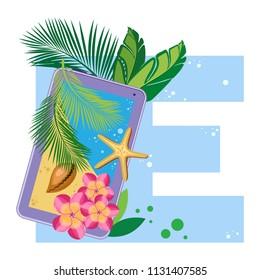 Isolated vector alphabet, exotic leaves, flowers and shell with a starfish and gadgets on blue letter