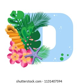Isolated vector alphabet, exotic leaves, flowers and shell with a starfish on blue letter