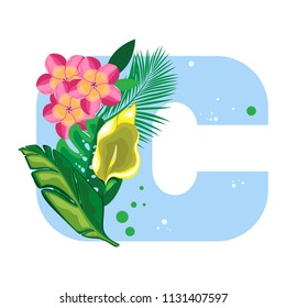 Isolated vector alphabet, exotic leaves, flowers on blue letter