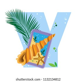 Isolated vector alphabet, exotic leaves, starfish, twisted shell and gadgets on blue letter