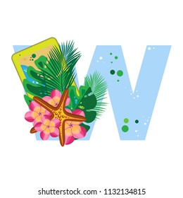 Isolated vector alphabet, exotic leaves, flowers, gadgets, and starfish on blue letter