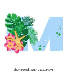 Isolated vector alphabet, exotic leaves, flowers, and starfish on blue letter