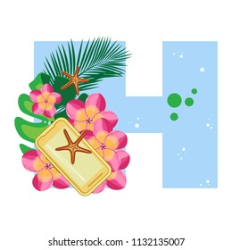 Isolated vector alphabet, exotic leaves, flowers, starfish and gadgets on blue letter