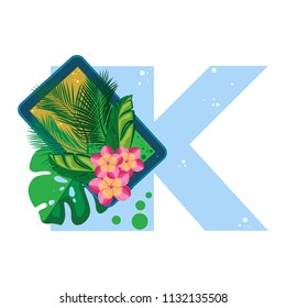 Isolated vector alphabet, exotic leaves, flowers and gadgets on blue letter