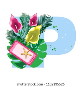 Isolated vector alphabet, exotic leaves, flower and gadgets on blue letter