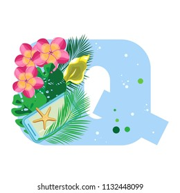 Isolated vector alphabet, exotic leaves, flowers, starfish and gadget on blue letter