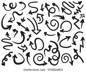Isolated vector arrows hand drawn sketch of doodle style