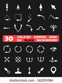 Isolated vector arrows signs on black background