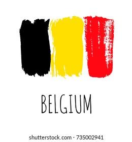 Isolated vector Belgian Flag, designed using brush strokes.